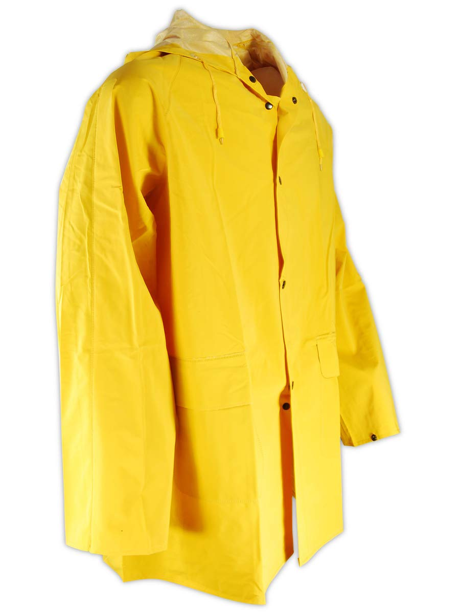 Magid Glove & Safety Magid RainMaster PVC Supported 14 MIL. Rain Jacket with Hood (1 Jacket), Yellow