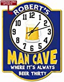 Redeye Laserworks Personalized Beer Thirty Blue Garage Hardboard Clock Sign from