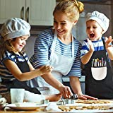2 Stück Kinder Schürzen Set mit Taschen, Verstellbare Kleinkind Kochschürze, Jungen Mädchen Malschürze Kinder Verstellbare Kochschürze für Basteln Malen Backen Kochen (schwarz, grau7-13 Jahre) - 5