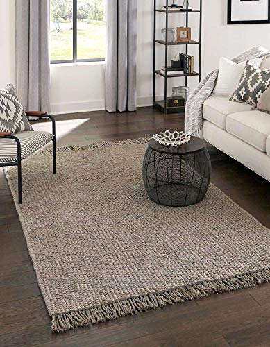 Unique Loom Chunky Jute Collection Solid, Transitional, Bohemian Area Rug, 5 x 8 Feet, Gray