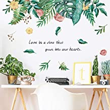 Green Plants Wall Decal, MOTASOM Removable Fresh Leaves Flowers Wall Stickers, Creative Mural Decoration for Decor Girls Boys Kids Nursery Baby Home Living Room Bedroom Kitchen (38.6 x 23.6 in)