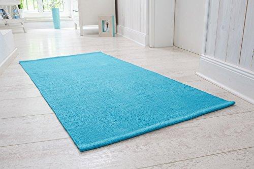 andiamo Handwebteppich Milo, Läufer, 100% Baumwolle, pflegeleicht & waschbar, einfarbig, Größe:60 x 120 cm, Farbe:Türkis