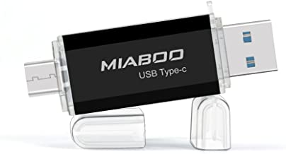 MIABOO USB 3.0 Type-C Flash Drive Interface Dual Pen Drive Memory Storage 64GB U Disk for Phone, Tablet or New MacBook (Black 64GB)