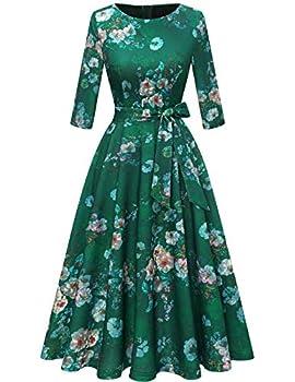 DRESSTELLS Women Rockabilly Cocktail Tea Dress Audrey Hepburn Swing A-Line Dress Green Flower 3XL