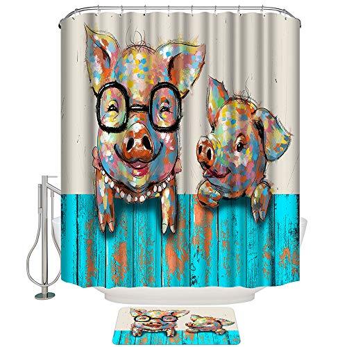 Artsbay Duschvorhang-Set mit Teppichen Tiermotiv lustiges Schwein Badezimmer Vorhang Durable Wasserdicht Polyester Vorhang Anti-Rutsch Badematte