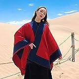 XUJJA Tíbet Qinghai Lake Chal Bufandas de Turismo de Nepal desertar Nacional del Color del Encanto del Viento en otoño e Invierno Capa Capa Femenina (Color : Red, Size : 130 * 150CM)