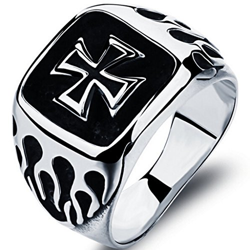 Stainless Steel Crusade Cross Biker Ring (Silver, Z+3)