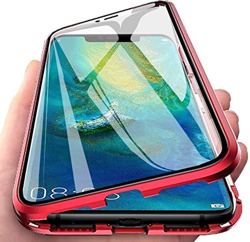 Aest Funda para Xiaomi Redmi Note 9S/Note 9 Pro Adsorción Magnética Carcasa Frente y Parte Posterior de Transparent Vidrio Templado 360 Grados Proteccion Metal Antigolpes Case - Rojo