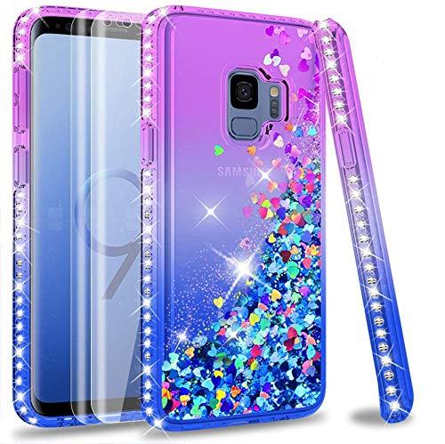 LeYi Handyhülle Kompatibe mit Galaxy S9 mit Full Coverage Curved 3D PET Schutzfolie(2 Stück),Diamond Rhinestone Glitzer Schutzhülle für Hülle Samsung Galaxy S9 ZX Gradient Purple Blue