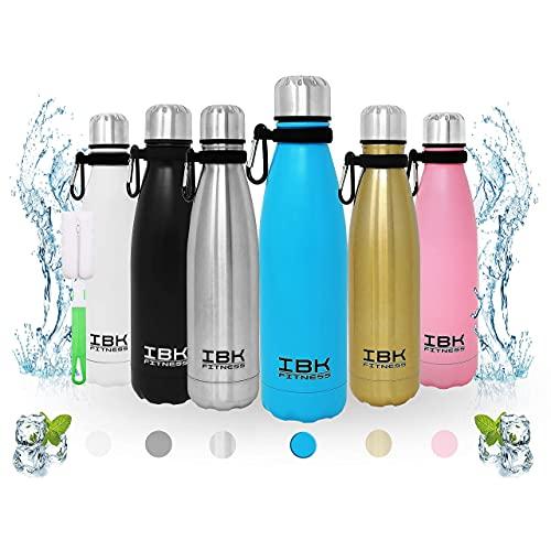 IBK Fitness - Borraccia Termica Portatile 500ML Acciaio Inox senza BPA Bottiglia d'Acqua 24 Ore Freddo e Caldo, Borracce per Scuola, Sport, All'aperto, Palestra, Yoga, con Spazzola pulizia (Azzurro)