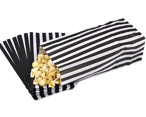 50 Black & White Pick n Mix Candy Stripe Paper Sweet / Party / Popcorn Bags 4 x 9.5 x 3 by Bag It Plastics