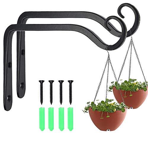 Lot de 2 crochets muraux noirs en fer avec 2 chaînes pour suspendre des plantes, lanternes, mangeoires à oiseaux