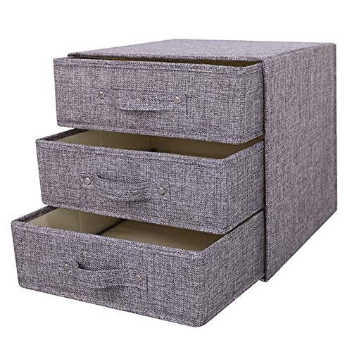 OLIGEI - Cajonera de tela para el hogar, organizador de almacenamiento, para ropa, corbatas, bufandas, pertenencias personales, etc., Gris, 3c3c
