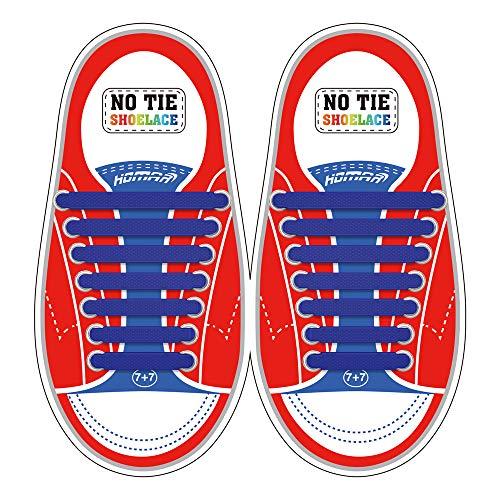 Homar sin corbata Cordones de zapatos para niños y adultos Impermeables cordones de zapatos de atletismo atlética de silicona elástico plano con multicolor de los zapatos del tablero Sneaker boots (Kid Size Dark Blue)