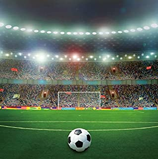 Baocicco 8x8ft Soccer Superbowl Backdrop Competition Playground Photography Background Gym Football Sports Match Stadium Shiny Spotlights Green Grassland Full Audience Seats Children Adult Portraits