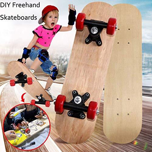 Skateboards für Anfänger, Kinder-Skateboard, handbemaltes DIY-Skateboard für Jungen und Mädchen, Single-Warp-Skateboard mit Vier Rädern - Spiele im Freien