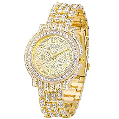 Amazon - Save 50%: Men's Iced Out Watch – Bling-ed Out Diamond Watch with Quartz Move…