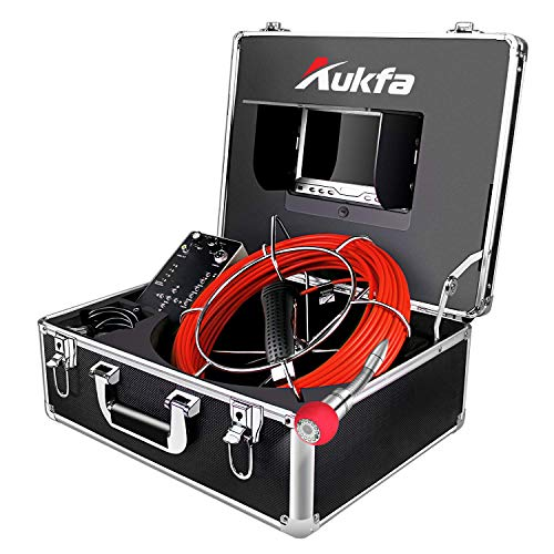Aukfa Sewer Camera 100ft Snake Cam with Distance Counter DVR Video Sewer Pipe Inspection Equipment 7 inch LCD Monitor Duct HVAC 1000TVL Sony CCD Endoscope Waterproof Ip68 Cable 30M (8GB SD Card)