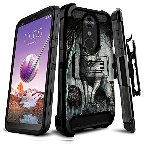Untouchble Case Compatible with LG Stylo 4 / LG Q Stylus/LG Stylo 4 Plus, Holster Case - Triple Protection Holster Belt Clip Holder Cover Kickstand Tank Series - Midnight Wolf