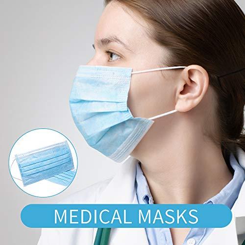 GerTong 30 Stück OP Mundschutz Maske 3-lagig Einweg-Masken Maske Atemschutz Mundmaske Hygienemaske Atemschutzmaske zur Prophylaxe mit Elastischen Ohrschlaufen Männer Frauen Blau