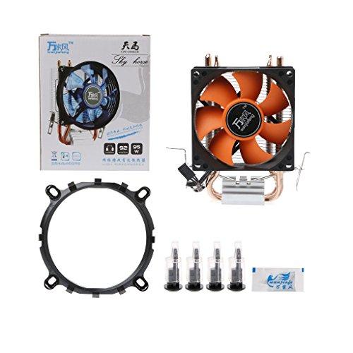 JENOR 2 ventiladores de refrigeración de CPU de aluminio para Intel 775/1155 AMD 754/AM2