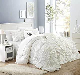 Chic Home Halpert 6 Piece Comforter Set Floral Pinch Pleated Ruffled Designer Embellished Bedding with Bed Skirt and Decorative Pillows Shams Included, Queen White (Renewed)