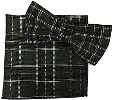 L/&L/® 2 Pcs Set Tartan Bow Tie Pocket Square Hanky Handkerchief Cotton UK