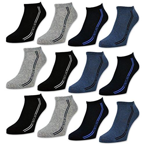 8 oder 12 Paar Sneaker Socken Herren Sport Baumwolle Schwarz Blau Grau - 16777 (43-46, 12 Paar | Farbmix)