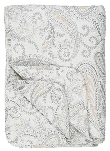 IB Laursen - Tagesdecke, Quilt - Baumwolle - Paisley Weiß-Beige - 180 x 130 cm