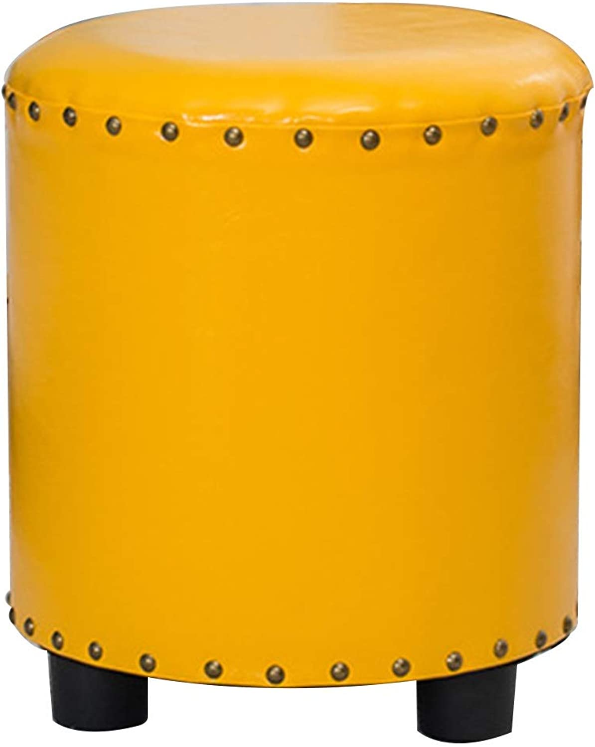 BYPING Pouffes And Footstools Bedroom Reminiscence Solid Wood PU Non-Slip Cotton Breathable, 4 colors (Capacity   34X40X40CM, color   Yellow)
