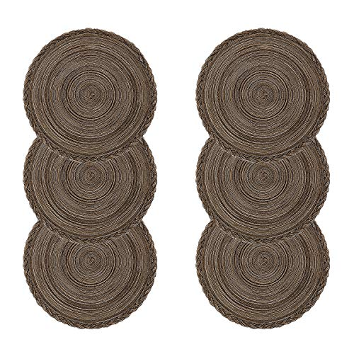 U'Artlines Lot de 6 Set de Table Coton Tressé Lavable Résistantes à la Chaleur Antidérapant, Set de Table Rond 38x38cm(Rond,tressé-Brun)