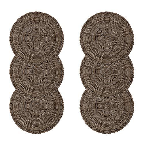 U'Artlines Place Mat, Juego de 6 manteles Individuales de Hilo de Algodón Trenzado Round-shapped DE 14-Inch Round-shapped (Redondo,Marrón Trenzado)