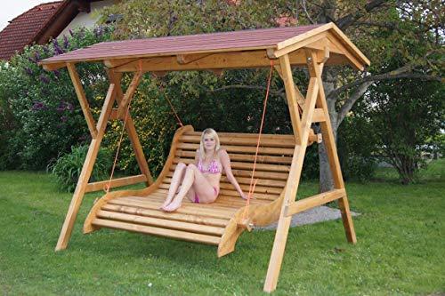 DEKO VERTRIEB BAYERN XXX Premium Hollywoodschaukel Holz Massivholz Gartenmöbel Garten Schaukel mit Dach inkl. Spedition