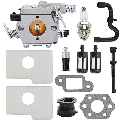 Mengxiang Carburetor for Stihl MS170 MS 170 MS180 MS 180 MS180C 017 018 017C 018C Chainsaw 1130 120 0608 Walbro Type Carb with 1130 124 08 1130 124 0800 Air Filter