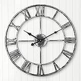 ARVINKEY Reloj de Pared Silencioso Europeo Granja Reloj Vintage con Números Romanos 40 cm No Tictac, Funciona con pilas, Esqueleto de Metal, Reloj Decorativo para el hogar, Cocina, Café (Plata)