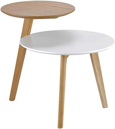ZR- サイドテーブル、ソリッドウッド製2段棚、リビングルームのラウンドコーヒーテーブル、バルコニースナックテーブル、コーヒーテーブル (色 : A)