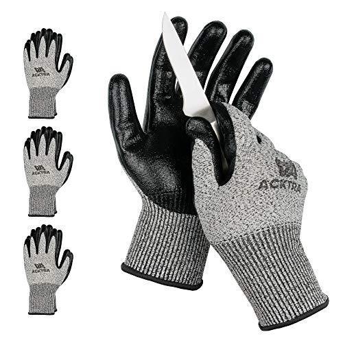 ACKTRA WG012 Level 5 Cut ResistantAll Purpose Safety WORK GLOVES 3 pairs, Durable Nitrile Coated, Comfort Fit, EN 388, for Men and Women(Small)