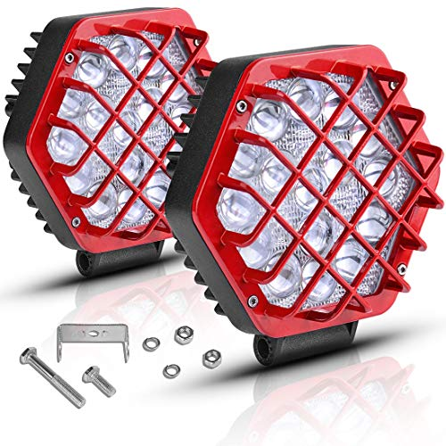"""AUTOSAVER88 2 Pcs 5"""" Red Led Light Pods 48W 5D Led Cubes 4800LM Offroad Fog Driving Lights Compatible with Truck Pickup Jeep Boats SUV ATV UTV"""