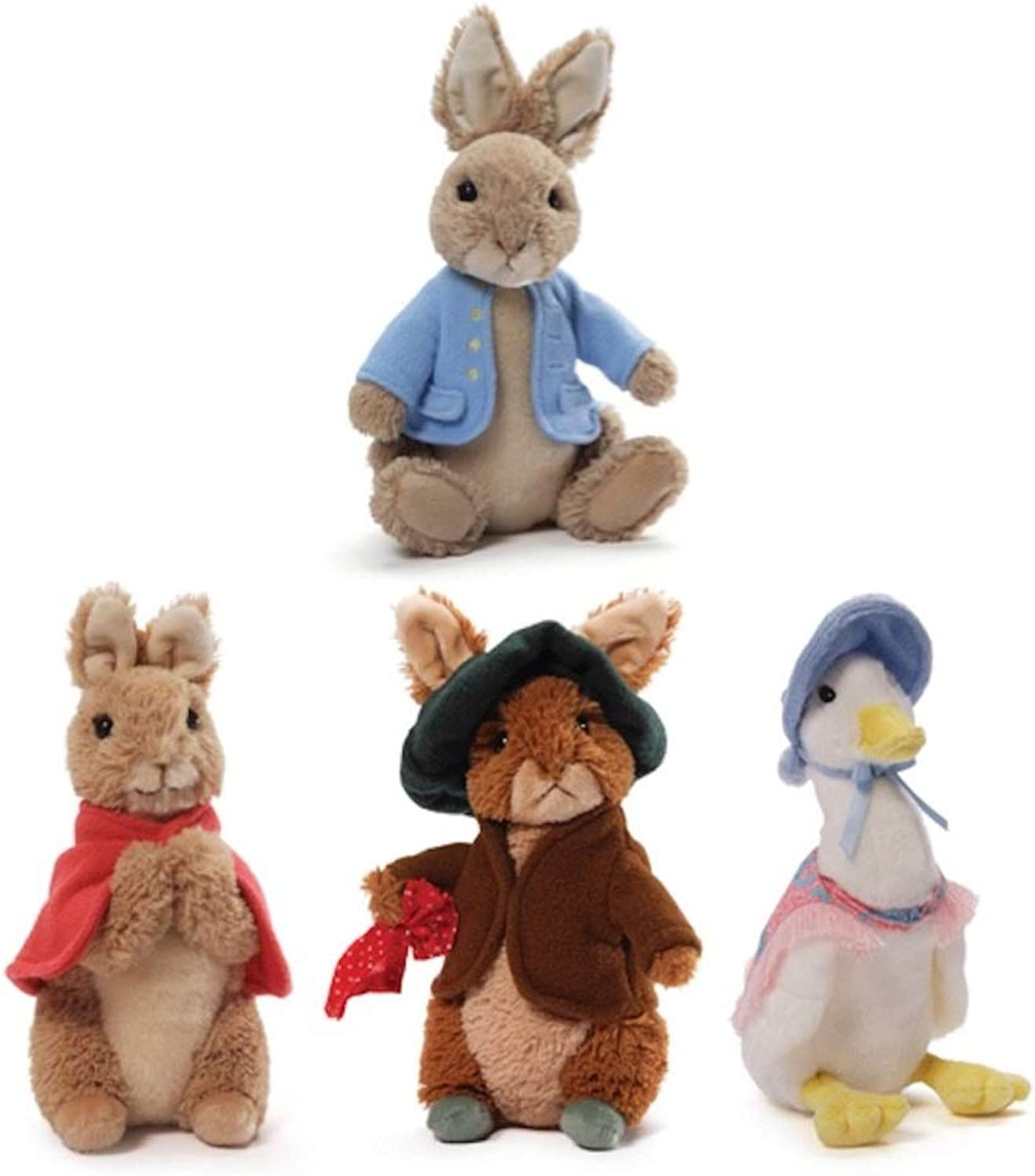 Gund Classic Beatrix Potter Plush Collection  Peter Rabbit, Flopsy Bunny, Benjamin Bunny and Jemima Puddle-Duck by GUND