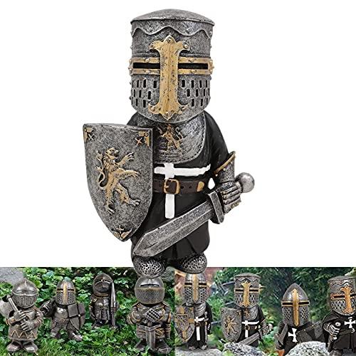 Gnomes gardien de chevaliers, costume d'armure miniature de chevaliers européens, figurine de croisé des templiers pour rendre votre jardin plus élégant