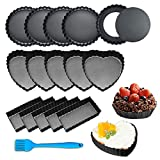 15 Pcs Mini Tart Pan, Smilerain 4 Inch Pie Pan Removable Bottom Round Heart Rectangle Nonstick Rugged Carbon Steel Quiche Pan for Baking Pies, Cheese Cakes and Desserts with Silicone Brush