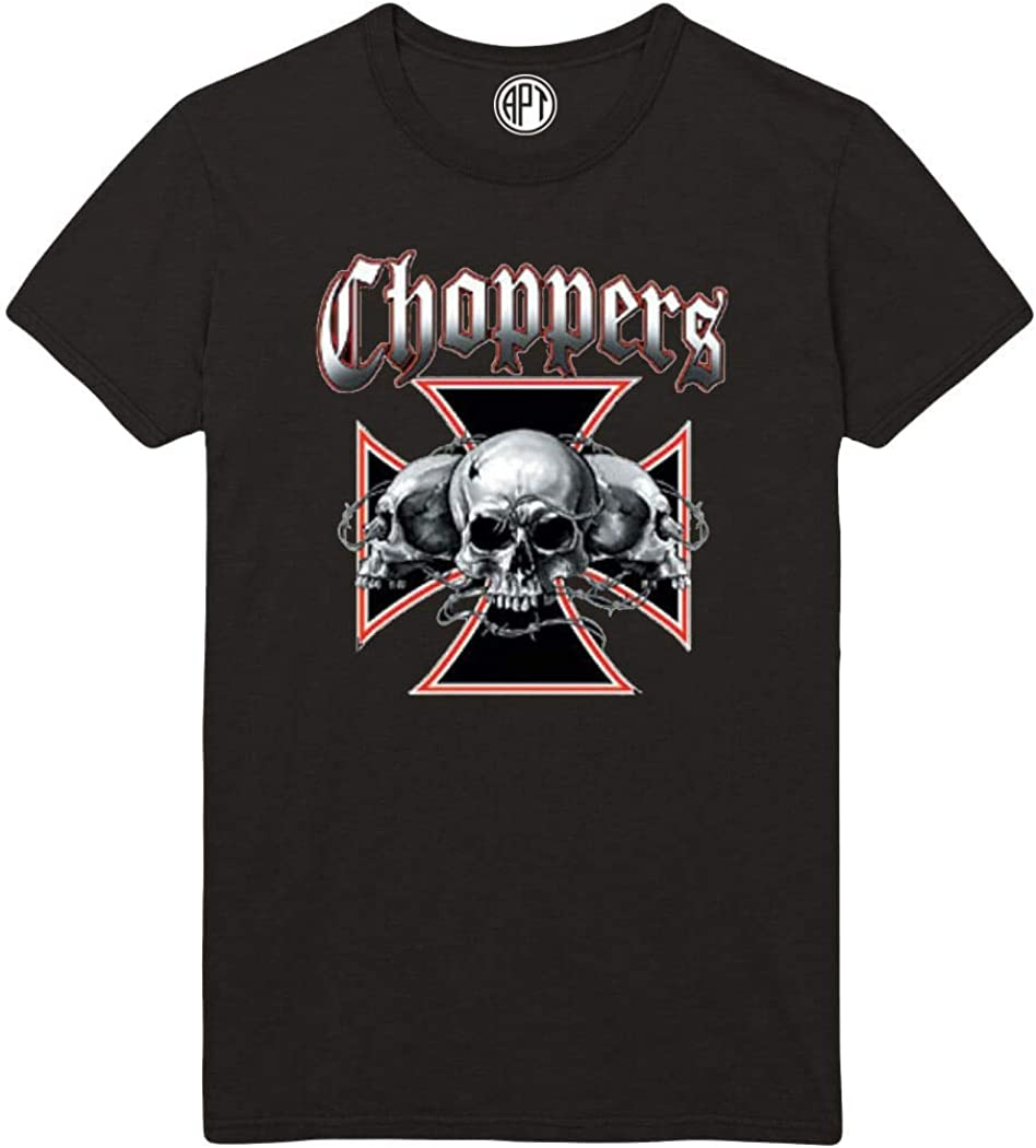 Choppers Cross and Skulls Printed T-Shirt