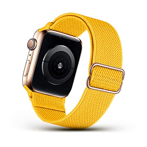 DSEHNGMEI Stretchy Nylon Solo Loop Strap Compatible with Apple Watch Bands 38mm 40mm , Adjustable Stretch Braided Elastic band Sport Women Men Strap Compatible with iWatch Series 6/5/4/3/2/1 SE,Yellow