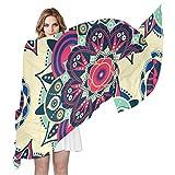 QMIN - Bufanda de seda, diseño étnico de mandala floral, largo y ligero, para mujer, chal