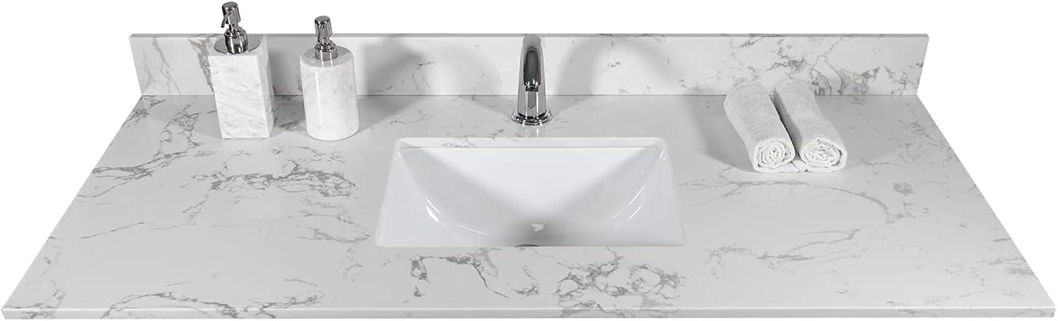 Pannow 49 SALENEW very popular Inch Vanity Top Stone Undercou White Tops with List price Carrara