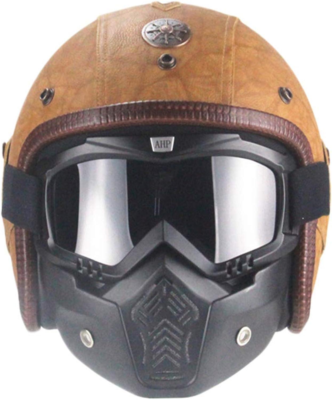 Motorcycle Helmet Leather Moto Helmets Vintage Motorcycle Helmet with Goggle Mask Motorcycle Chopper Bike Helmet Road Helmet