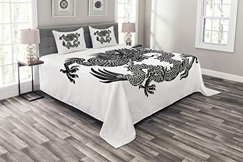 ABAKUHAUS Drachen Tagesdecke Set, Symbolische Figur, Set mit Kissenbezügen Sommerdecke, für Doppelbetten 220 x 220 cm, Weiß Schwarz
