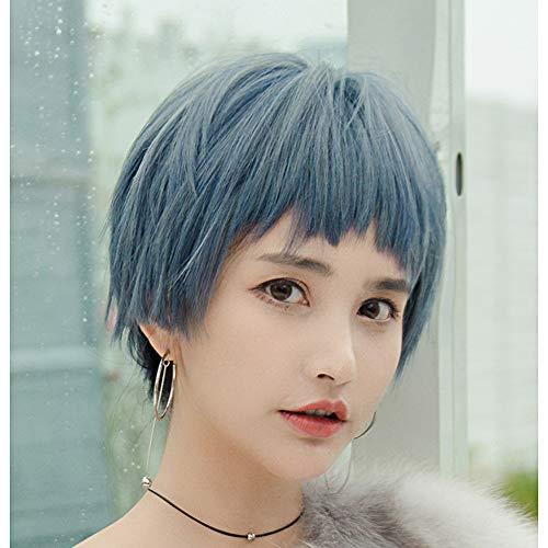 NanXi Haze Perruque Bleu Femme Sens Adolescent Cheveux Courts Visage Rond Chauve fraîche Beau Style Capuche Fille Naturelle,Bleu,26cm