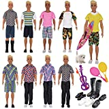 EuTengHao 25Pcs Doll Clothes and Accessories for 12 Inch Boy Dolls Includes 16 Different Wear Clothes Shirt Jeans,4 Pairs of Shoes for 12'' Boyfriend Doll,and Dog,2 Tennis Racket,Violin and Surfboard
