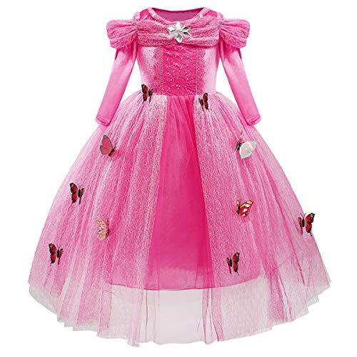 MYRISAM Disfraz Cenicienta Nia Princesa Manga Larga Cinderella Dress Traje de Carnaval Halloween Navidad Fiesta Cumpleaos Aniversario Cosplay Mariposa Costume 9-10 aos